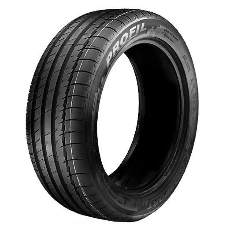 Modern asymetric  tire. Very wide outside zone which must acoount for good steering  responsivness....