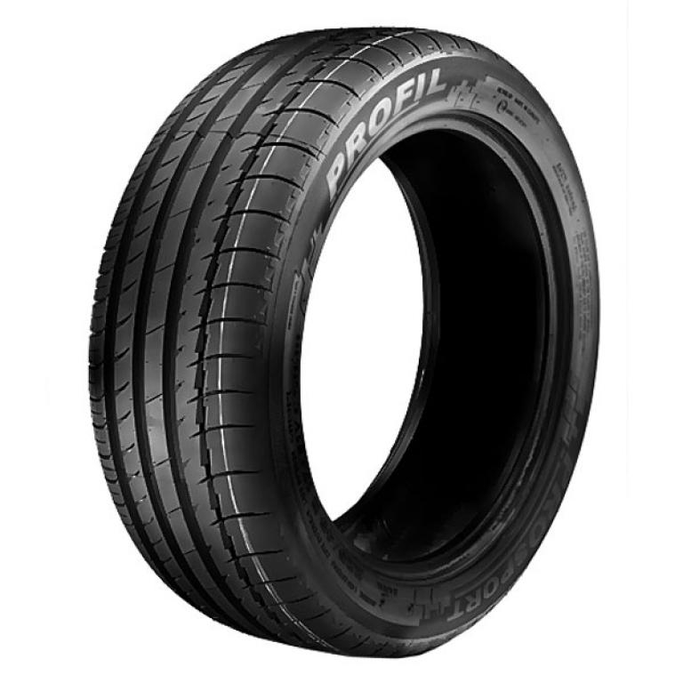 Modern asymmetric  tire. Very wide outside zone which must acoount for good steering  responsivness....